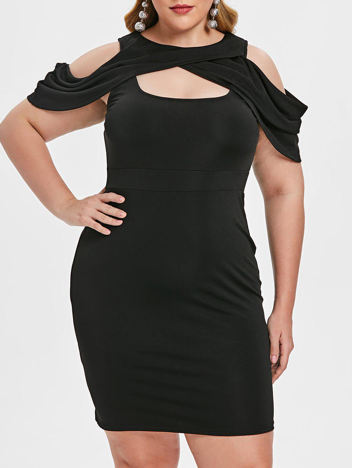 Plus Size Cold Shoulder Cut Out Bodycon Dress Rosegal
