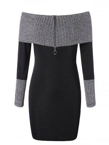 Plus Size Knitted Insert Zip Off Shoulder Bodycon Dress