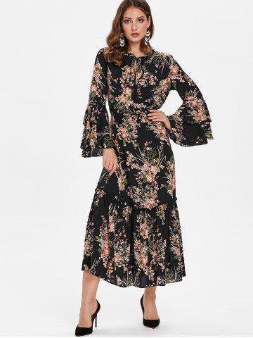 Tie Collar Tiny Floral Print Maxi Dress