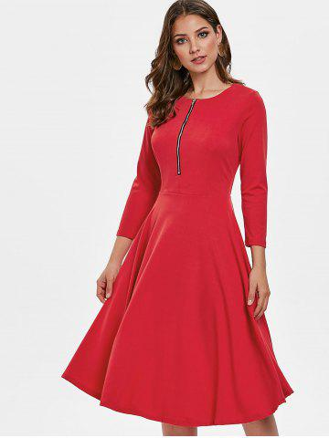 Three Quarter Sleeve Flowing Dress with Zipper