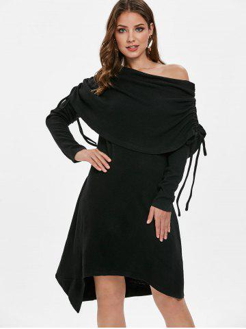 Skew Neck Asymmetrical Tunic Dress