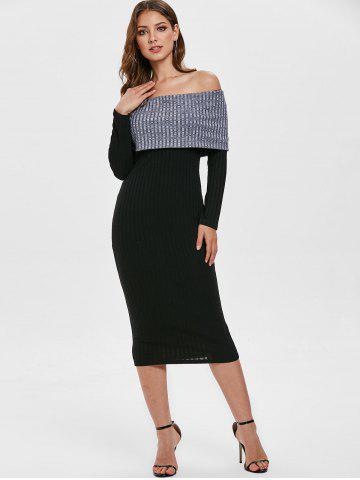 Contrast Knitted Off Shoulder Bodycon Dress