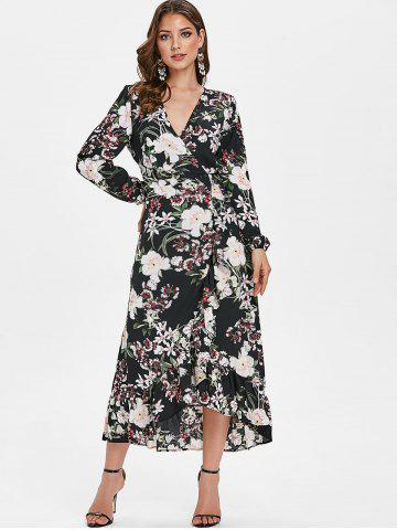 Floral Print Ruffled Trim Maxi Dress