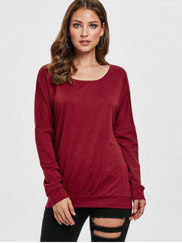 Solid Color Drop Shoulder Scoop Neck Sweatshirt