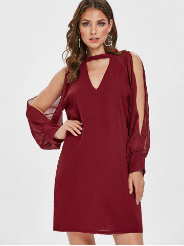 Keyhole Neck Split Sleeve Mini Dress
