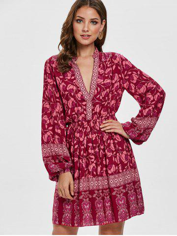 Floral Long Sleeves Plunging Neck Dress