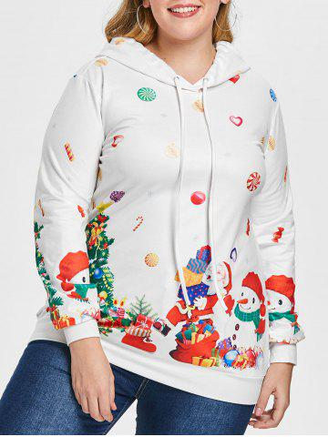 Plus Size Christmas Print Hoodie - NATURAL WHITE - 4X