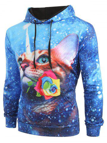 Cat Flower Galaxy Print Kangaroo Pocket Hoodie