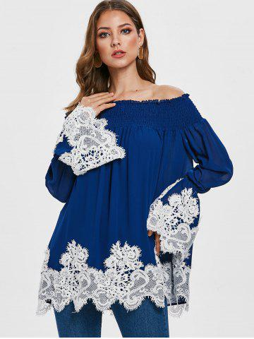 Contrast Lace Panel Off The Shoulder Blouse