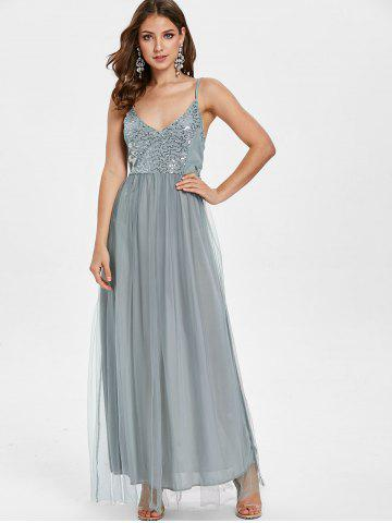 Spaghetti Strap Sequins Mesh Insert Maxi Dress