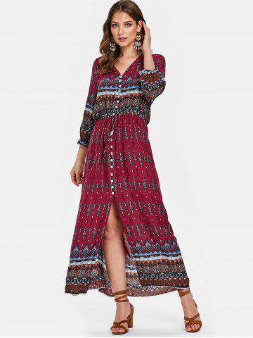 a49060f32d Boho Printed Button Half Sleeve Dress