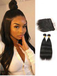Straight Human Hair Brazilian Virgin Hair Weaves with Lace Frontal Closure -