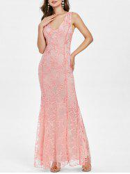 Plunging Neck Backless Embroidered Maxi Party Dress -