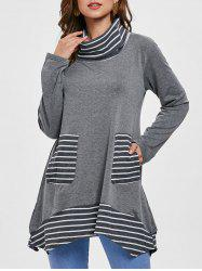 Long Sleeve Stripe Trim Turtleneck T-shirt -