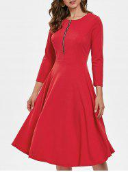 Three Quarter Sleeve Flowing Dress with Zipper -
