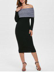 Contrast Knitted Off Shoulder Bodycon Dress -