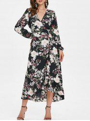 Floral Print Ruffled Trim Maxi Dress -