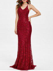 Backless Sequins Maxi Party Dress -