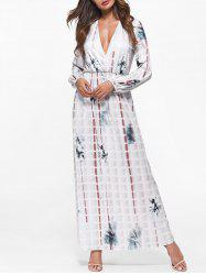 Plunging Neck Tie Dye Maxi Dress -
