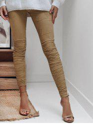 Faux Suede Ruched Leggings -