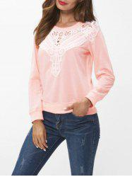 Lace Panel Long Sleeve Sweatshirt -