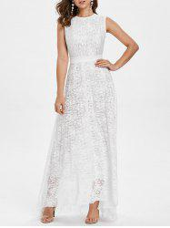 Sleeveless Lace Belted A Line Dress -
