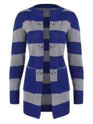Buttons Embellished Pockets Striped Cardigan -