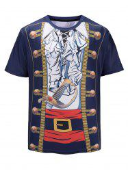 Faux Pirate Jacket Print Short Sleeve Funny T-shirt -