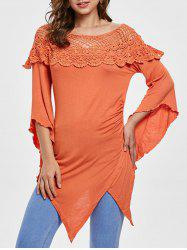 Openwork Lace Panel Asymmetrical T-shirt -