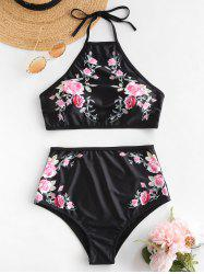 Halter Floral High Rise Bikini Set -