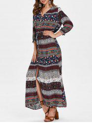 Bohemian Printed V Neck Button Dress -