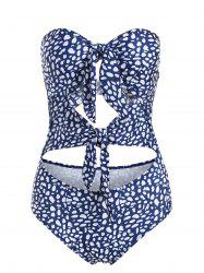 Strapless Front Tie Cut Out One-piece Swimwear -