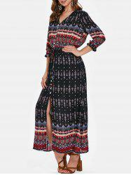 Bohemian Print Half Sleeve Button Dress -