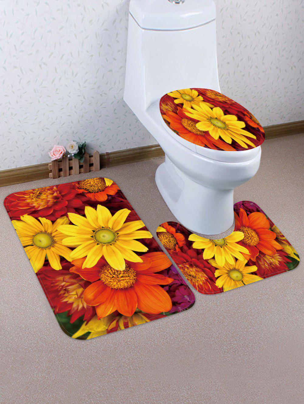 Discount Flowers Pattern 3 Pcs Toilet Mat Set