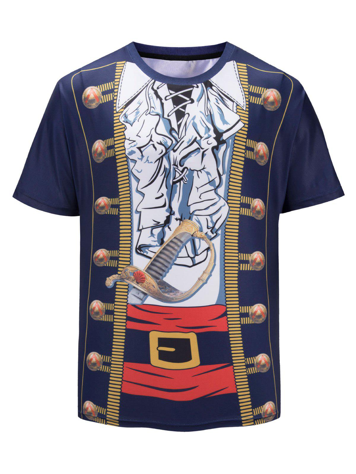 Discount Faux Pirate Jacket Print Short Sleeve Funny T-shirt