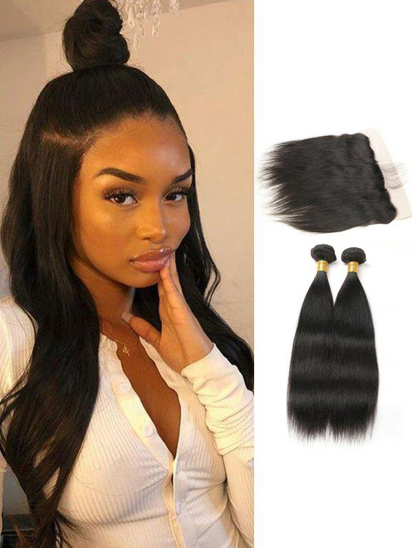 Fancy Straight Human Hair Brazilian Virgin Hair Weaves with Lace Frontal Closure