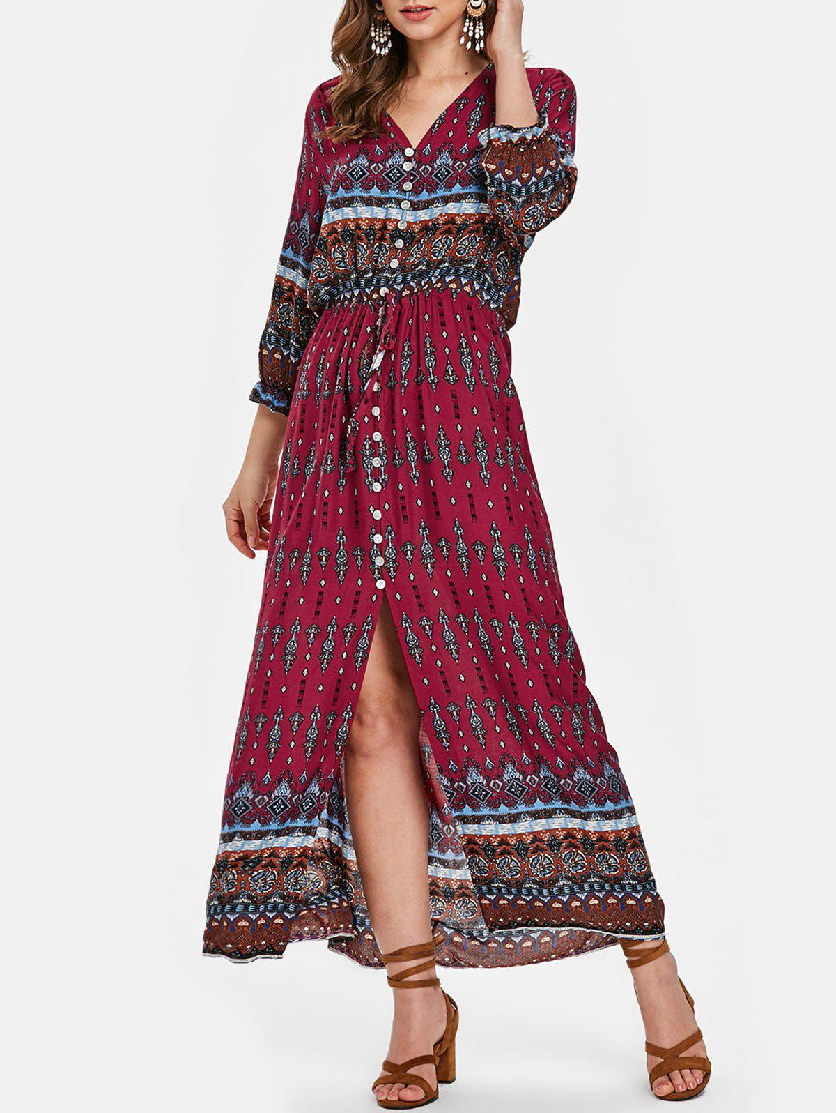Outfit Boho Printed Button Half Sleeve Dress