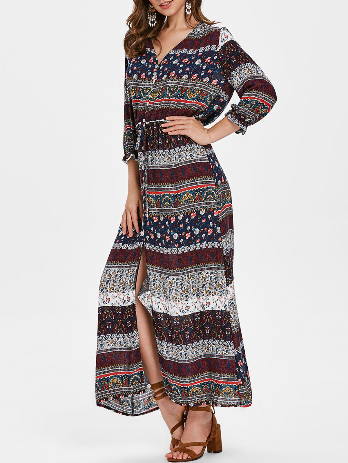 Buy Bohemian Printed V Neck Button Dress