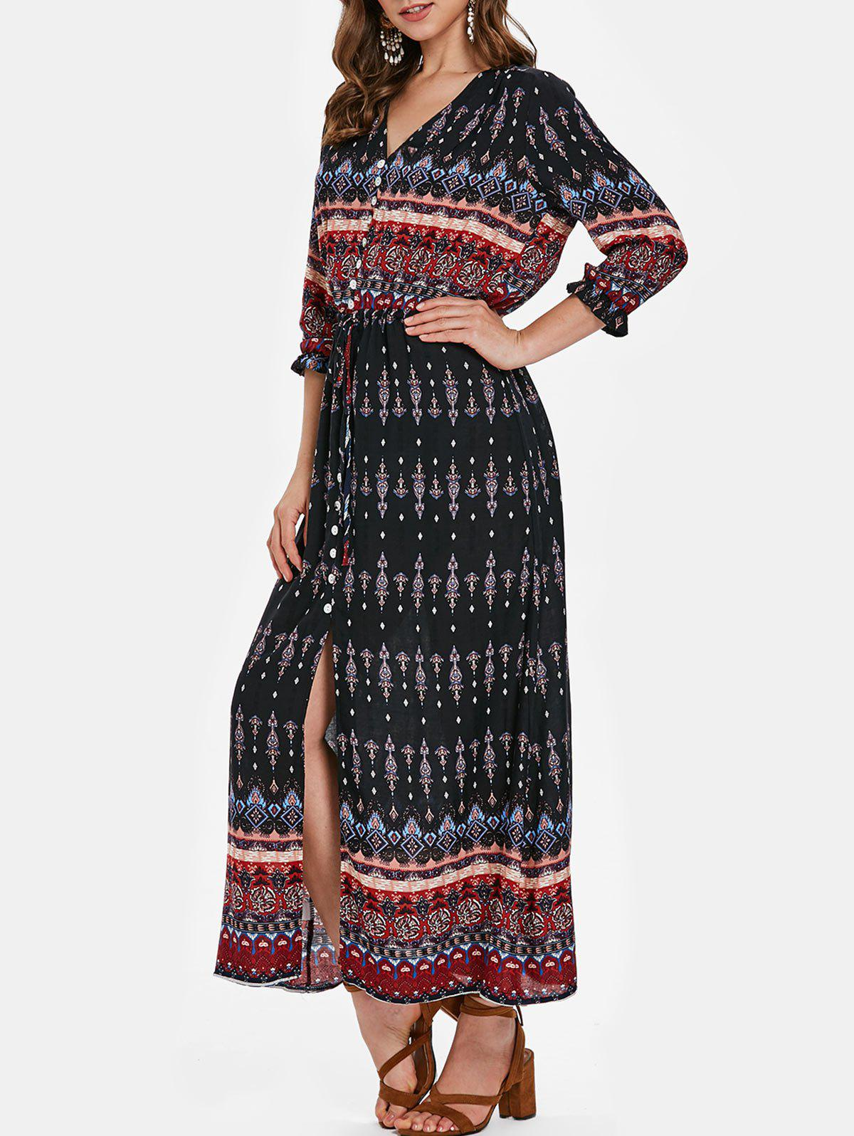 New Bohemian Print Half Sleeve Button Dress