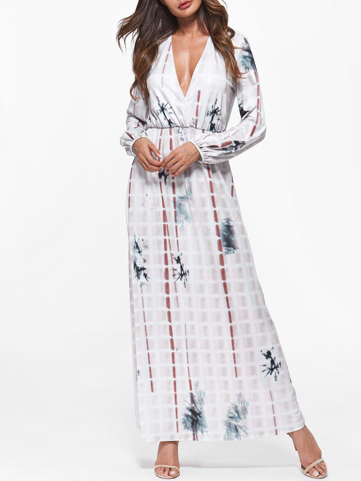 Buy Plunging Neck Tie Dye Maxi Dress