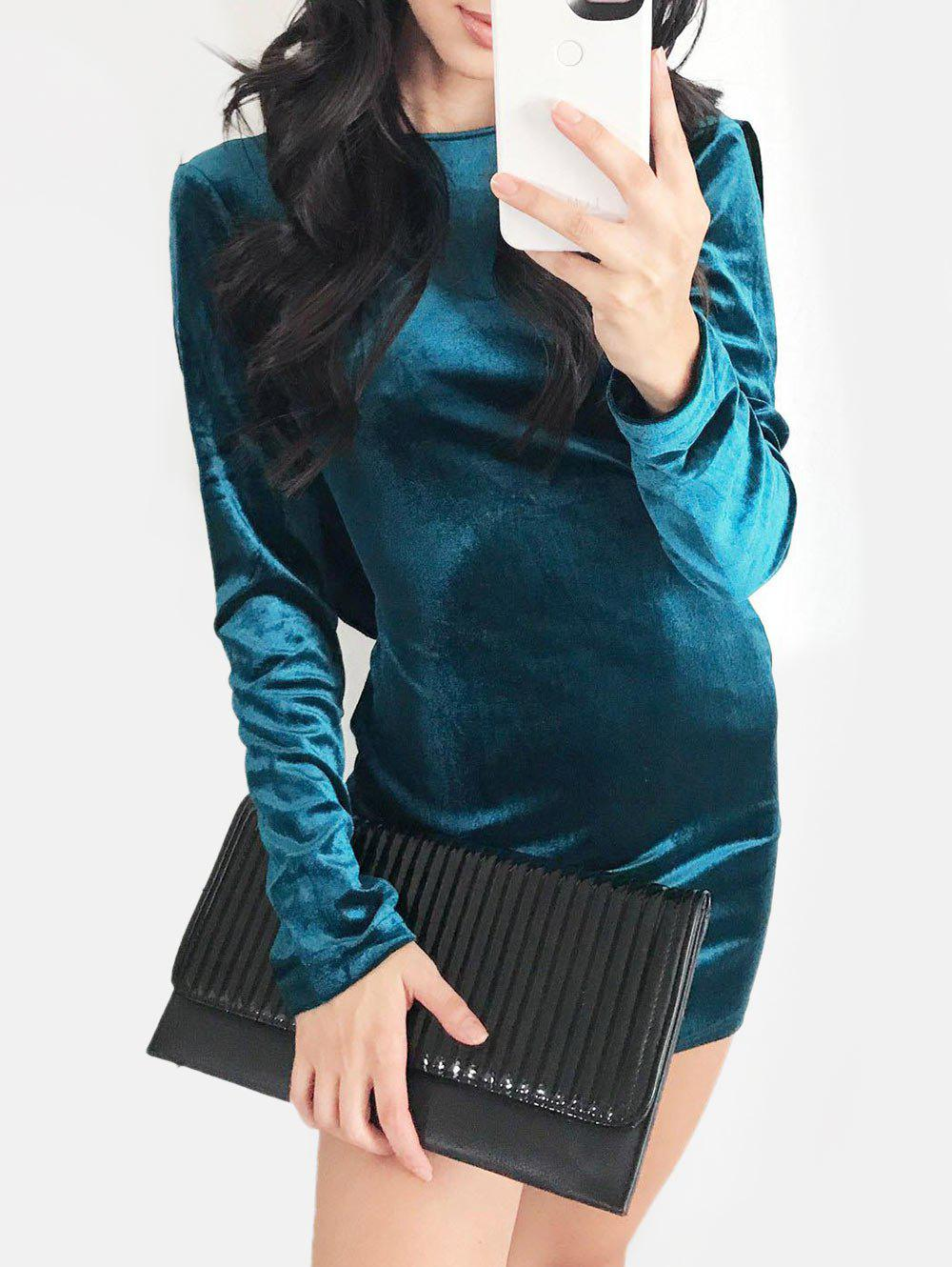 Discount Strappy Backless Velvet Bodycon Dress