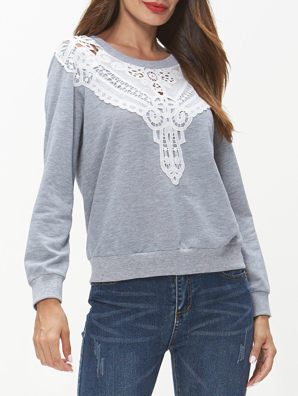 Outfit Lace Panel Long Sleeve Sweatshirt