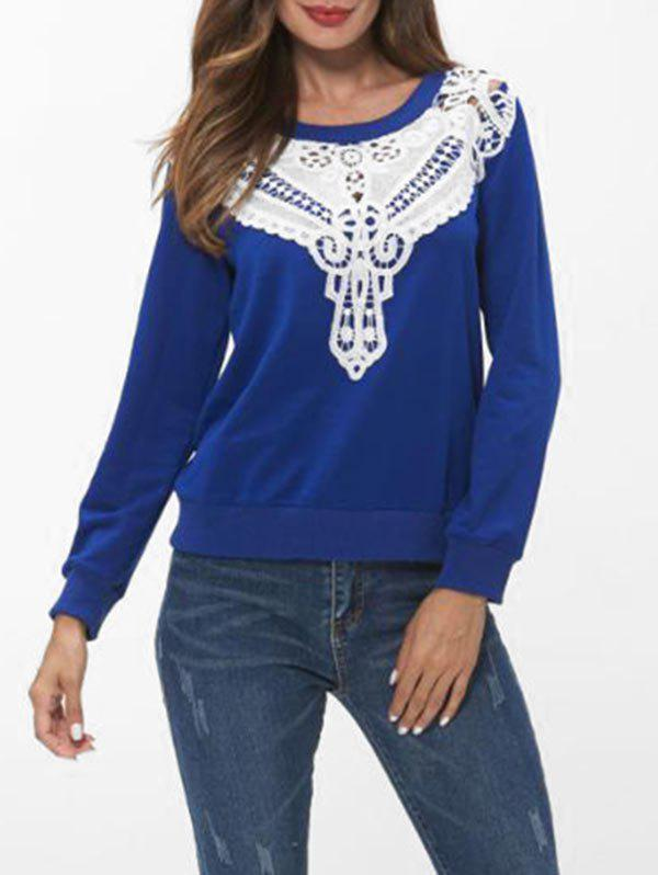 Sale Lace Panel Long Sleeve Sweatshirt