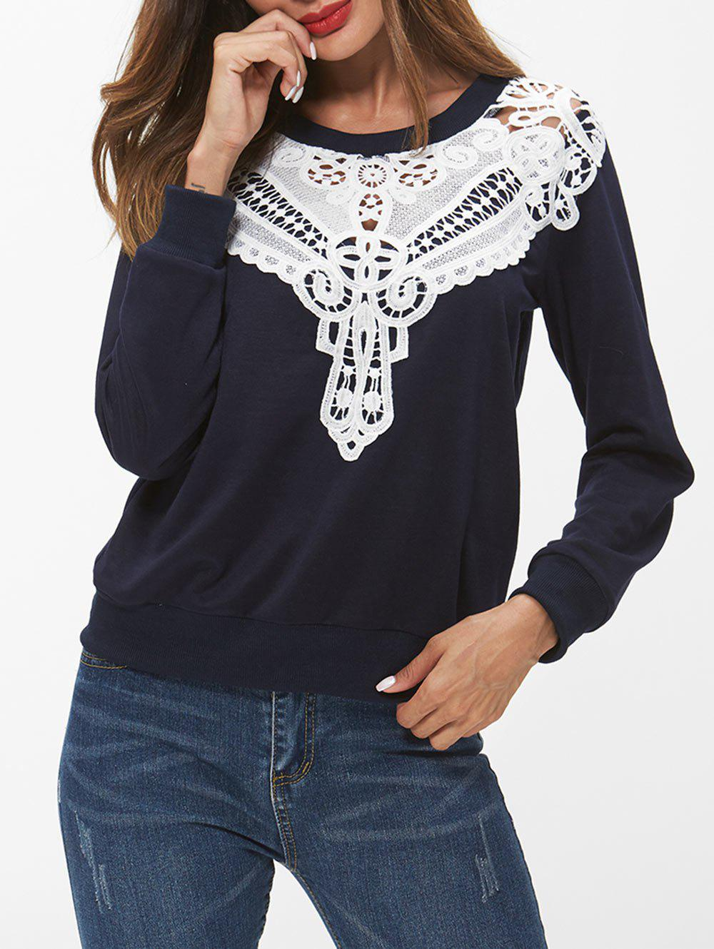 Chic Lace Panel Long Sleeve Sweatshirt
