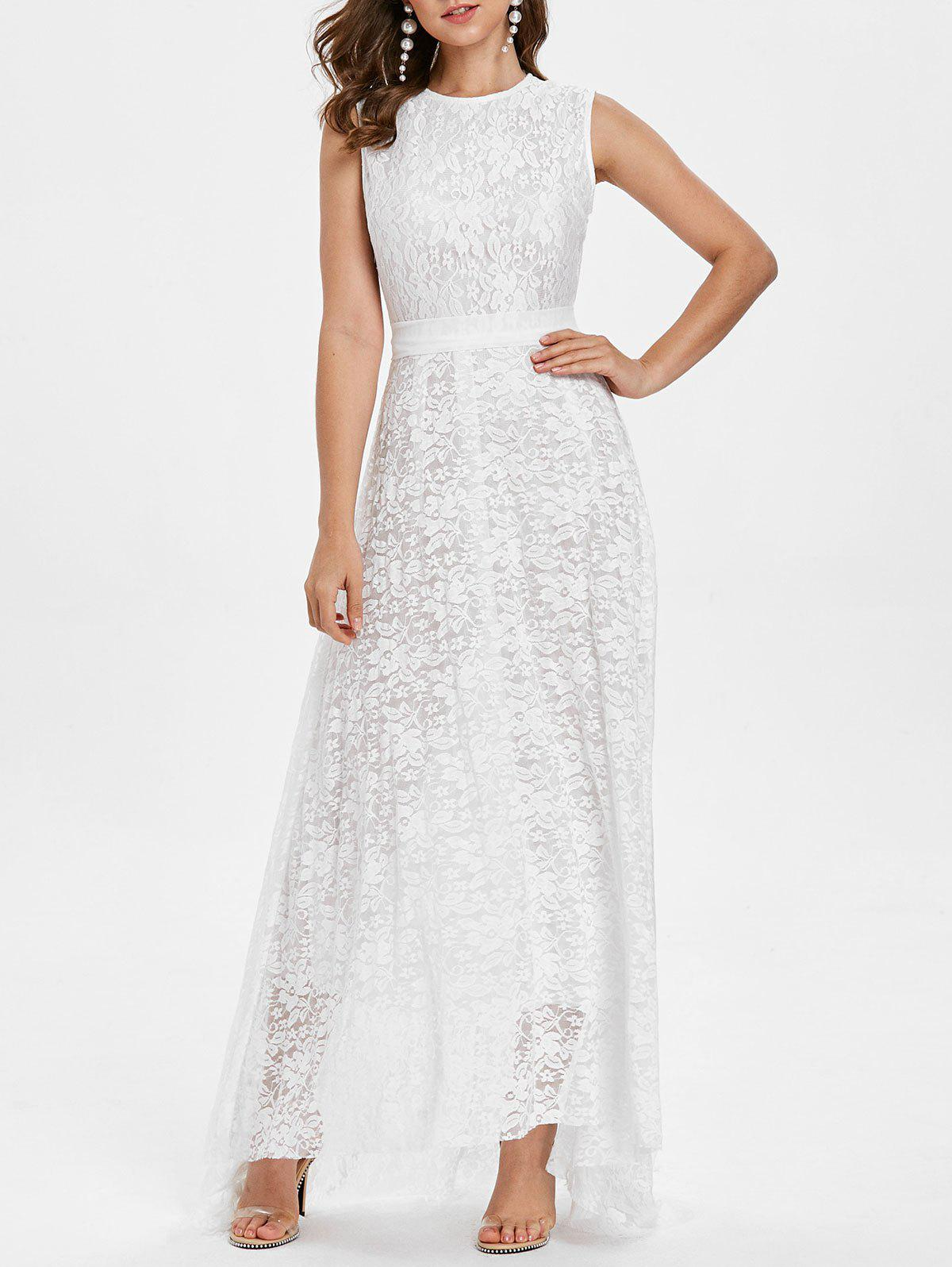 Fashion Sleeveless Lace Belted A Line Dress