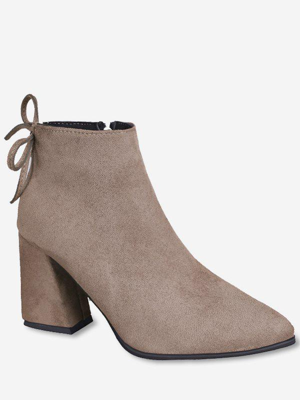 857a657ea1f5 Affordable Pointed Toe Tie Back Ankle Boots