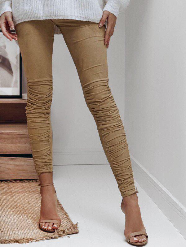 Cheap Faux Suede Ruched Leggings