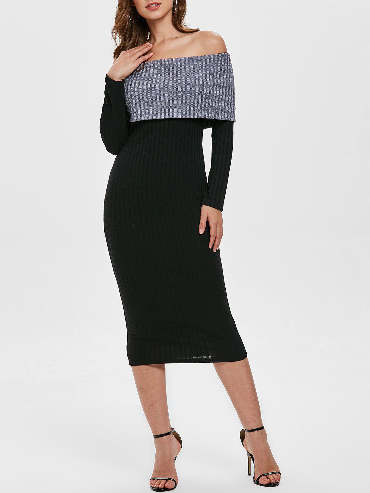 Online Contrast Knitted Off Shoulder Bodycon Dress