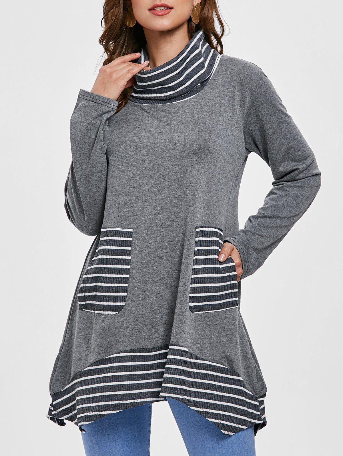 Cheap Long Sleeve Stripe Trim Turtleneck T-shirt