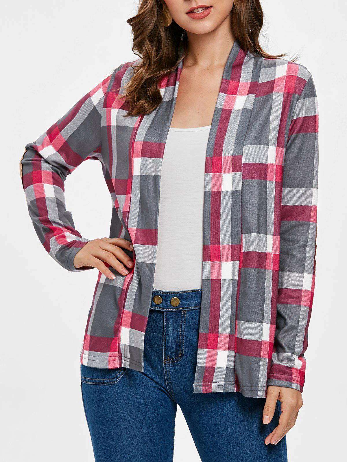 New Elbow Patch Plus Size Plaid Cardigan